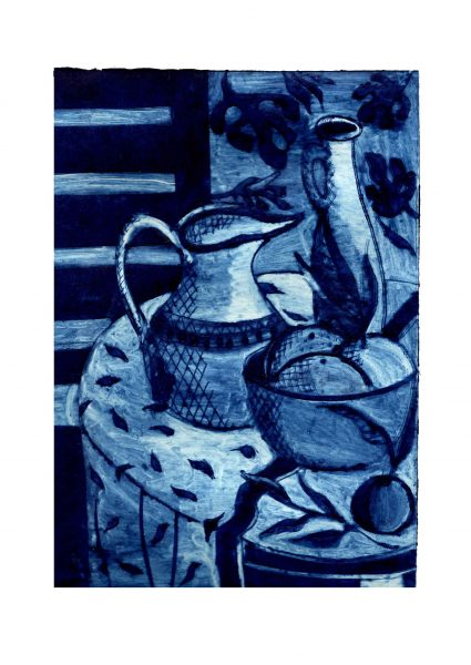 Jug on Summer Table (unique collagraph in blue)